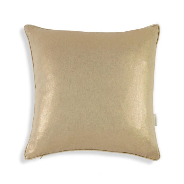 Image of Metallic Linen Swallow Garden Pillow, Gold