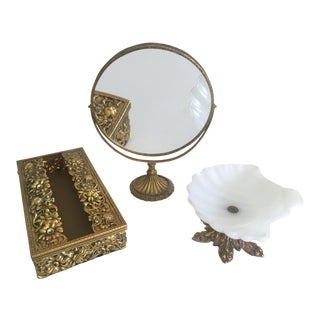 Vintage Mid-Century Hollywood Regency Brass Vanity Accessories - Set of 3