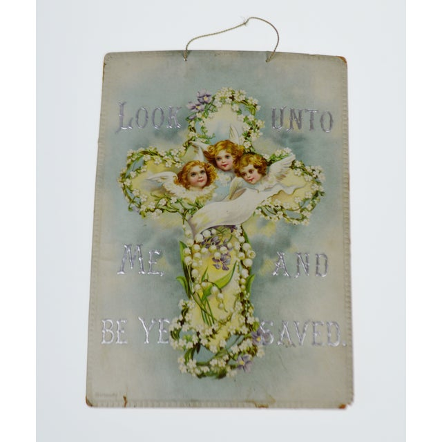Victorian Wall Art Look Unto Me and Be Ye Saved Isaiah 45:22 Print on Board Made in Germany - Image 2 of 11