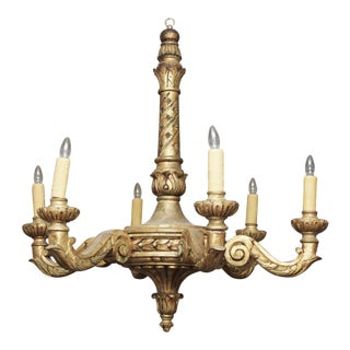 LARGE SIX LIGHT GILTWOOD CHANDELIER