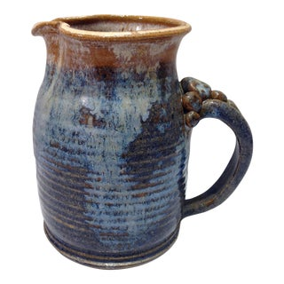 Vintage Hand Made Blue & Brown Pottery Pitcher