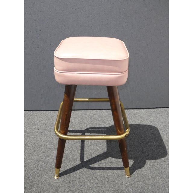 Retro Pink Vinyl Bar Stools - Set of 3 - Image 7 of 11