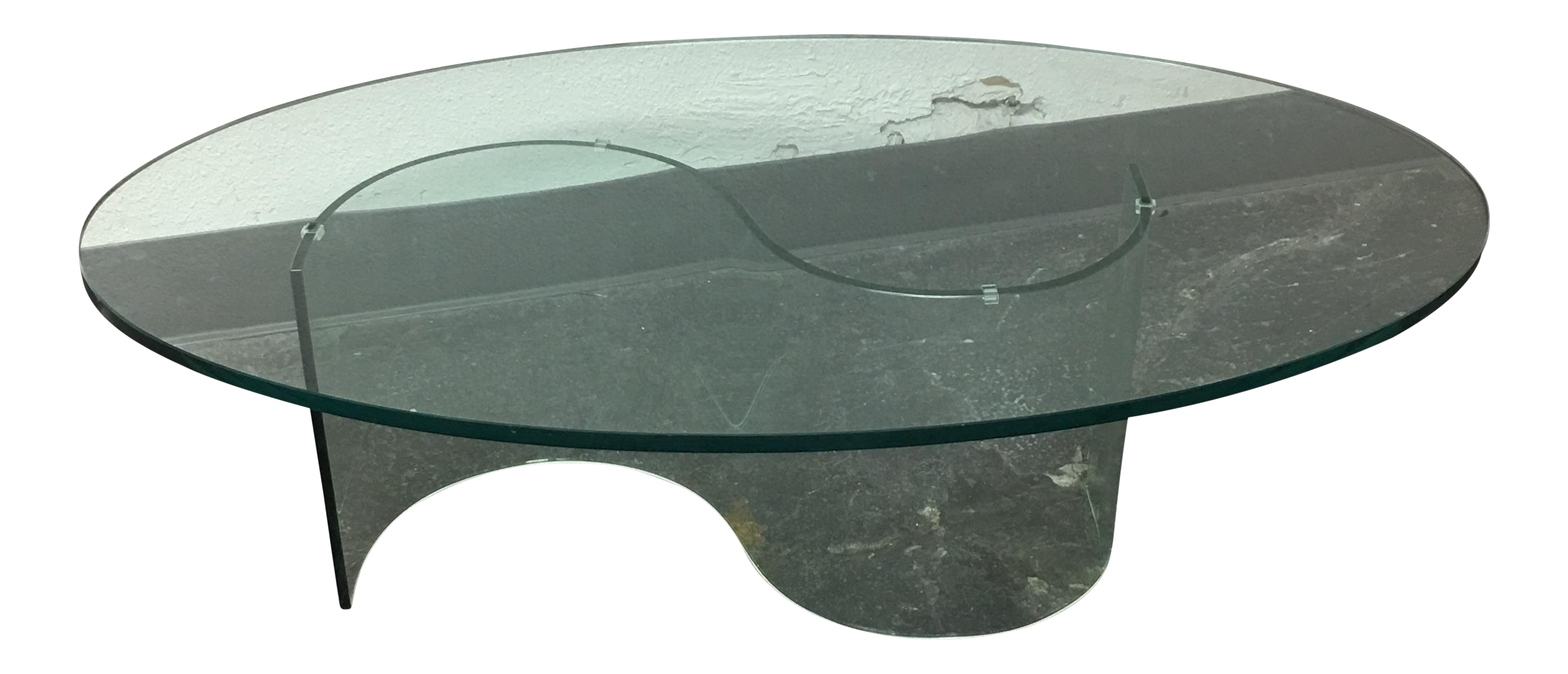 oval glass coffee table with glass base