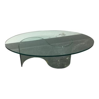Contemporary Oval Glass Coffee Table with Glass Base