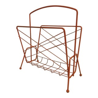 Mid-Century Modern Orange Magazine Rack