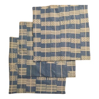 Blue & Metallic Pillow Covers - set of 3