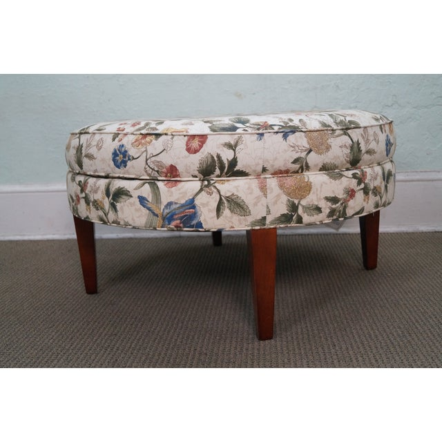 Floral Upholstered Round Ottoman - Image 10 of 10