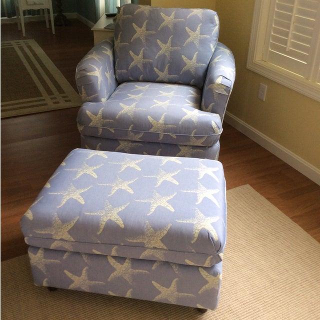 """Starfish Blue"" Chair & Ottoman Set - Image 2 of 7"