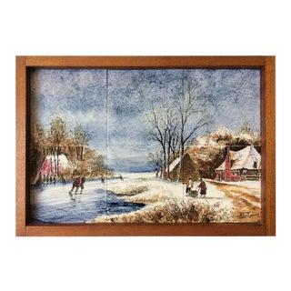 Vintage Winter Scene Delft Tile Tray / Wall Hanging
