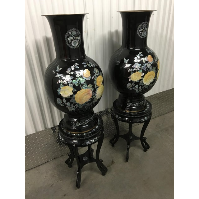Asian Mother of Pearl Vases on Stands - A Pair - Image 10 of 11