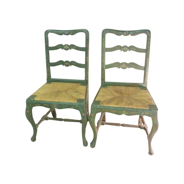 18th C. French Painted Chairs - A Pair - Image 1 of 6