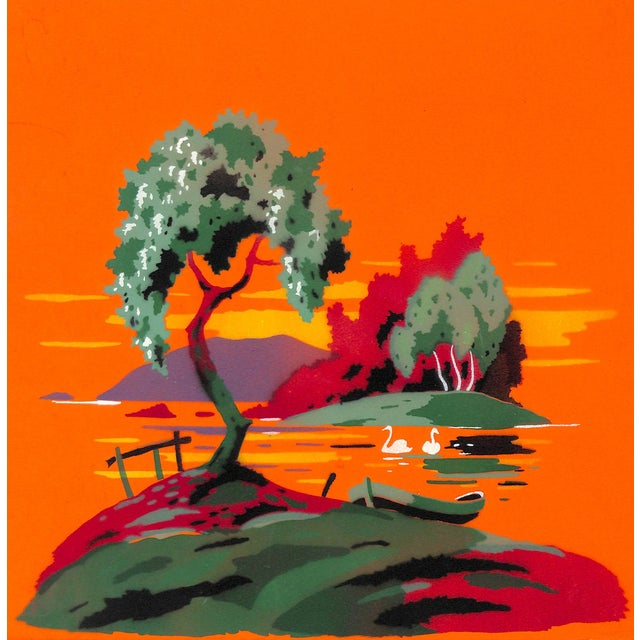 """Image of 1920s Airbrush Pochoir """"Swans on the Water"""""""