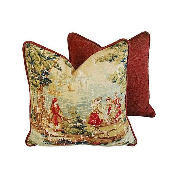 Vintage Custom Renaissance Toile Pillows - A Pair - Image 5 of 7