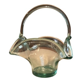 Hand Blown Art Glass Basket