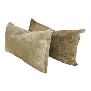 Champagne Cowhide Pillows - Pair