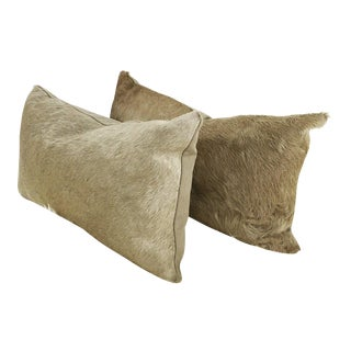 Champagne Cowhide Pillows - Pair