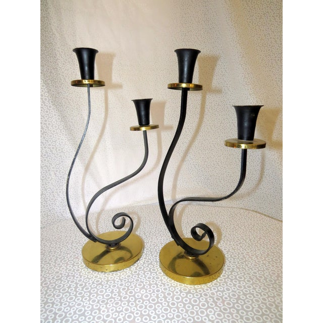 Image of Mid-Century Black & Gold Chrome Candle Holder - A Pair