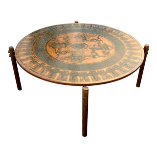 Stamped Copper Egyptian Theme Coffee Table, Norway, ca. 1970