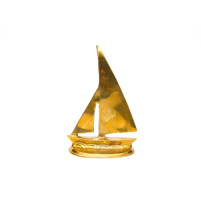 Image of Mid-Century Brass Sailboat Bookends