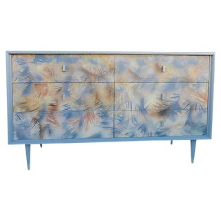 Six Drawers Leaves Pattern Dresser From 60's