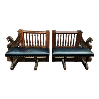 Antique 19th C. American Herter Brothers Style Griffin Benches - A Pair