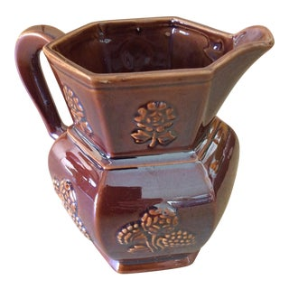 Rustic Brown Lusterware Pitcher