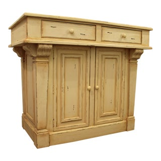 French Country Farm Style Painted Wood Kitchen Island/Bar Cabinet