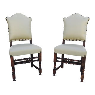 Antique Mission Recycled Leather Head Chairs / New Upholstery - a Pair