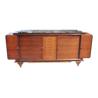 French Art Deco Marble Top & Rosewood Sideboard / Buffet 1930s Vintage