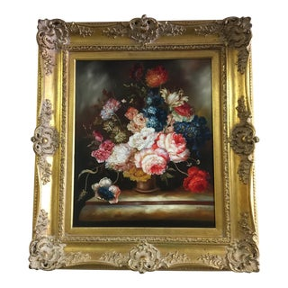Ornate Floral Oil Painting