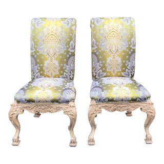 Carved Italian Side Chairs With Venetian Style Green Silk Lampas