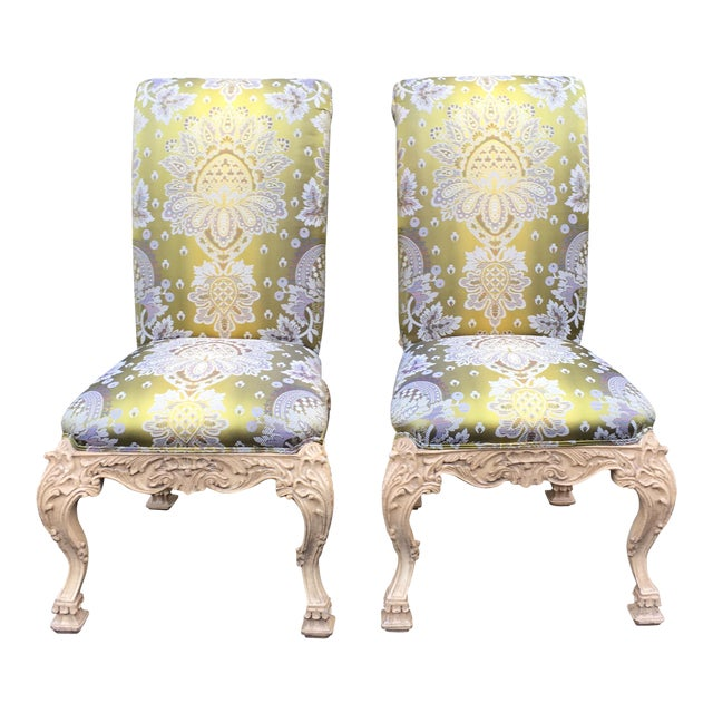 Carved Italian Side Chairs With Venetian Style Green Silk Lampas - Image 1 of 5