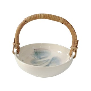 Signed Art Pottery Dish with Rattan Handle