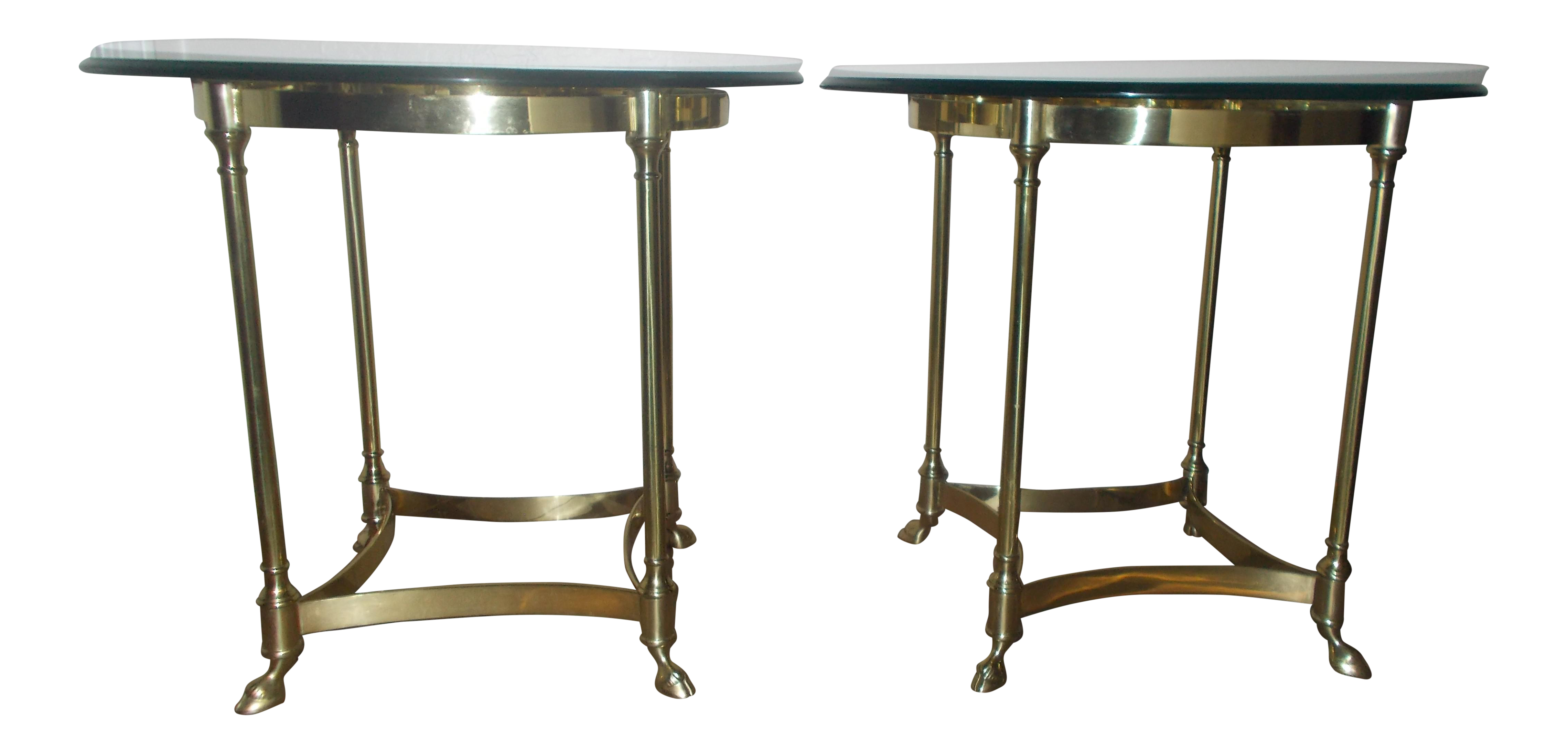 Charming La Barge Glass U0026 Brass End Table   A Pair