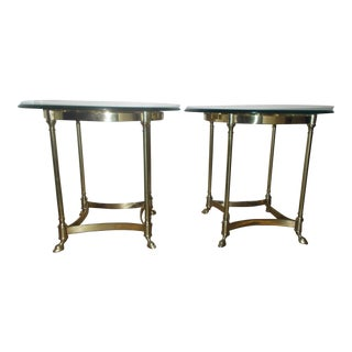 La Barge Glass & Brass End Table - A Pair