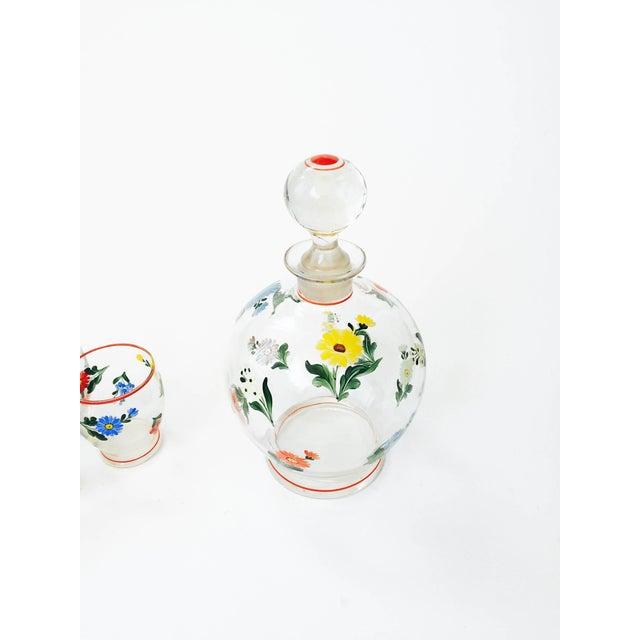 Image of Vintage 5-Piece Floral Czech Decanter Set
