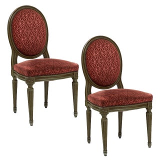 French Antique Louis XVI Style Medallion Back Chairs - a Pair