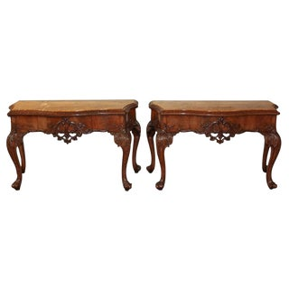 Exceptional Pair of English Mahogany Consoles