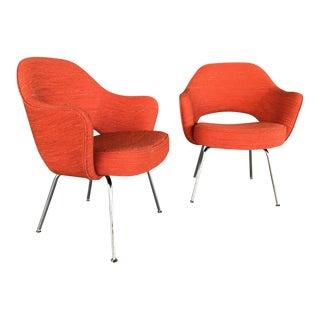 Saarinen for Knoll Mid-Century Orange Executive Arm Chairs