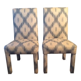 Parsons Style Blue & White Ikat Chairs - A Pair