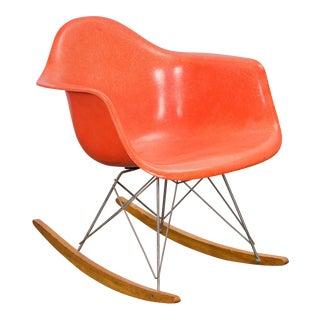 Eames Orange Armchair on Rocker Base