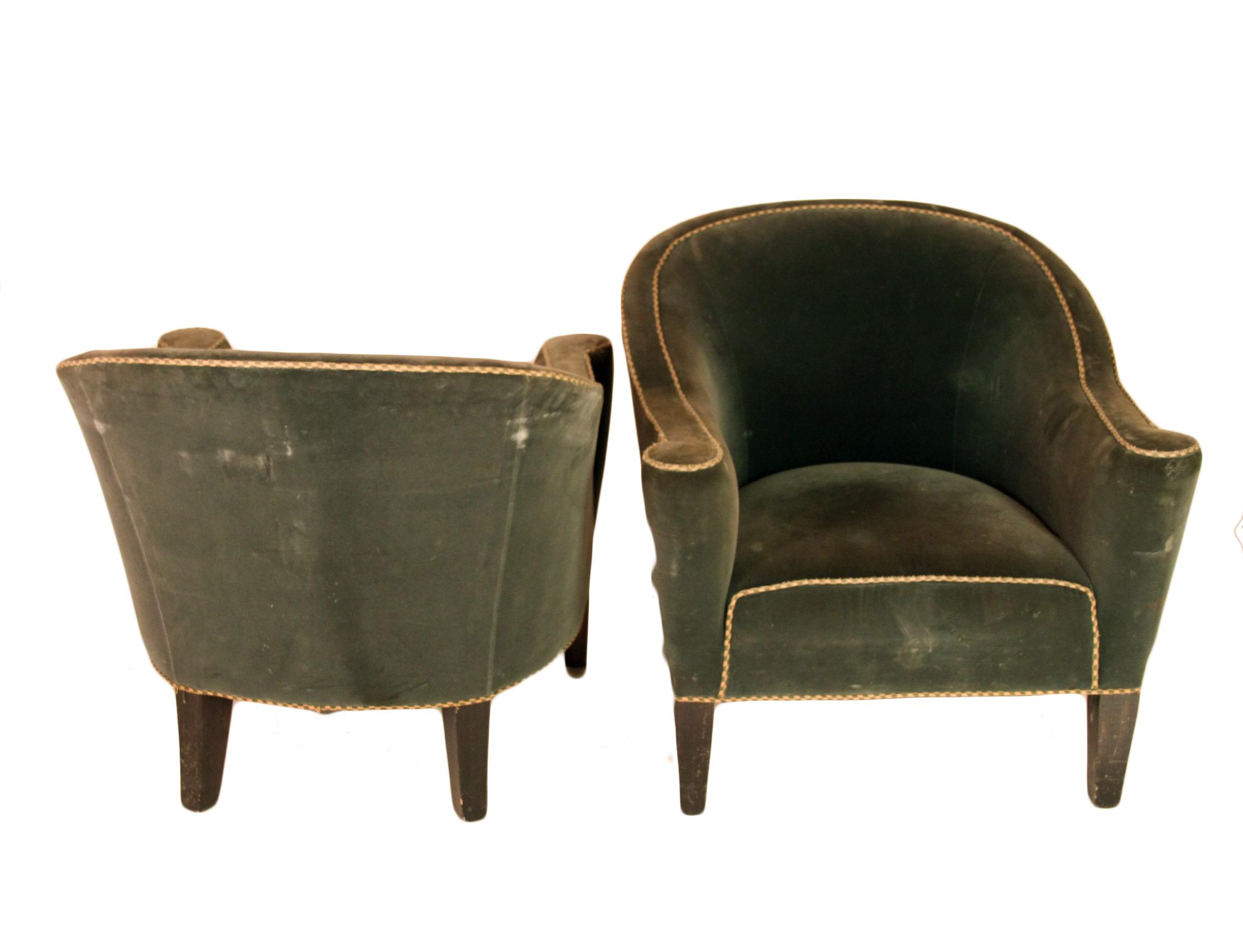 Amazing Art Deco Round Back Club Chairs   A Pair   Image 5 Of 6