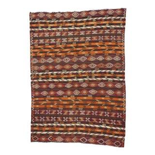 Vintage Turkish Handwoven Embroidered Kelim Rug - 6′11″ × 9′7″