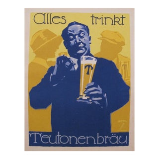 1926 Original German Art Deco Beer Poster, Teutonenbrau Beer