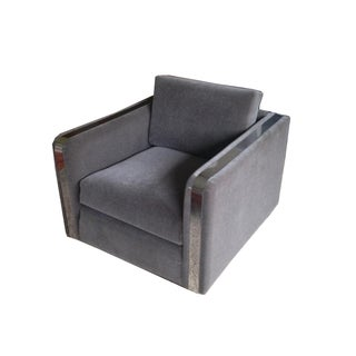 Vintage Modern Gray Mohair Club Chair