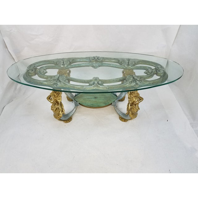 Regency Mermaid Oval Carved Wood Metal Table Chairish: mermaid coffee table