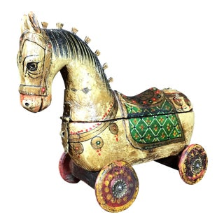 Antique Wooden Horse Jewelry Box