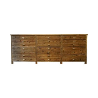 Vintage Reclaimed Wood Twelve-Drawer Dresser
