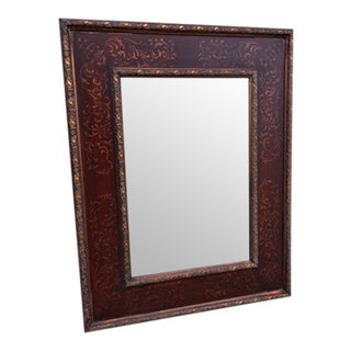 Antique Mahogany Finish Double Framed Wall Mirror