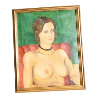 Vintage Female Nude Torso Oil Painting on Canvas